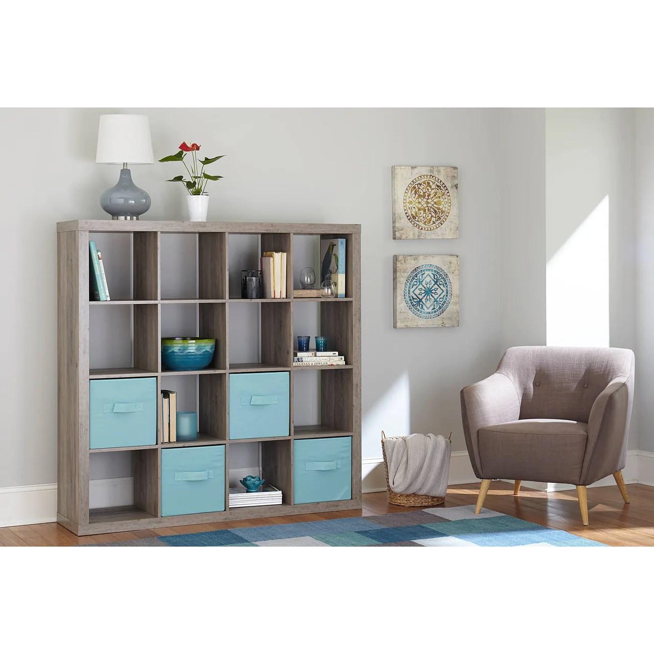 16 Cube Storage Organizer Cubby Shelf Bookcase Rustic Grey Farmhouse