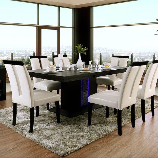 Dining Room Evangeline Black Table With Beige Chairs Golden Woods Furniture
