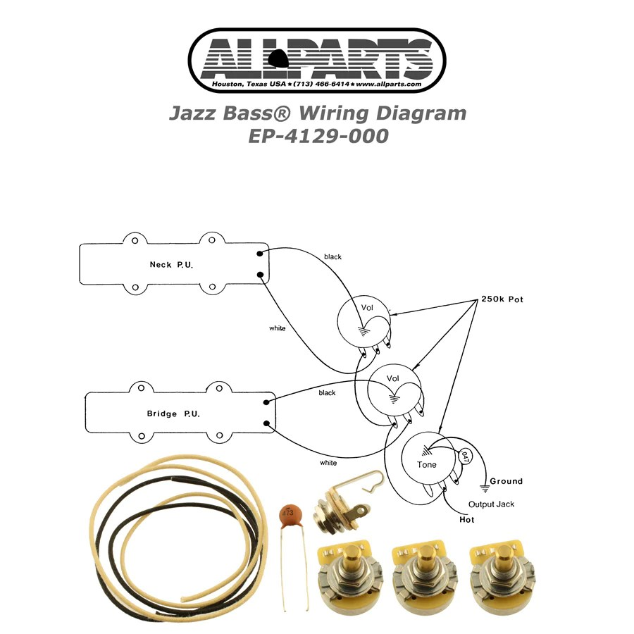 hight resolution of ep 4129 wiring kit for jazz bass