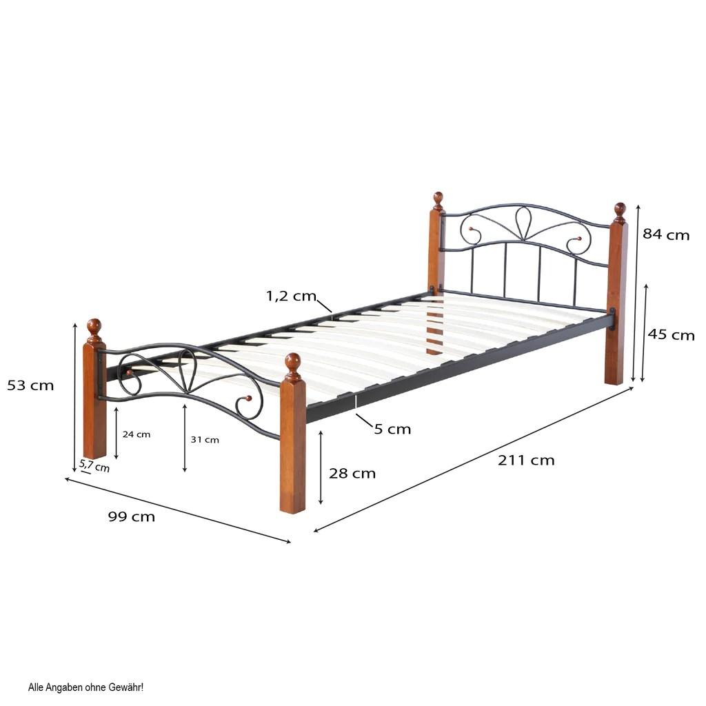 lit 1 personne en metal et bois marron fonce 90x200 cm avec sommier a decoshop26