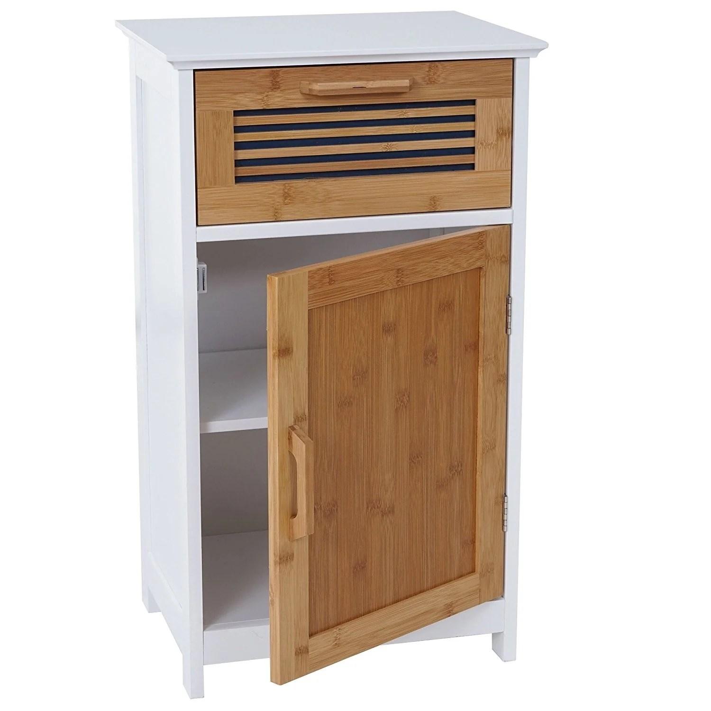 meuble de salle de bain commode avec tiroir et etagere mdf et bambou sdb04032