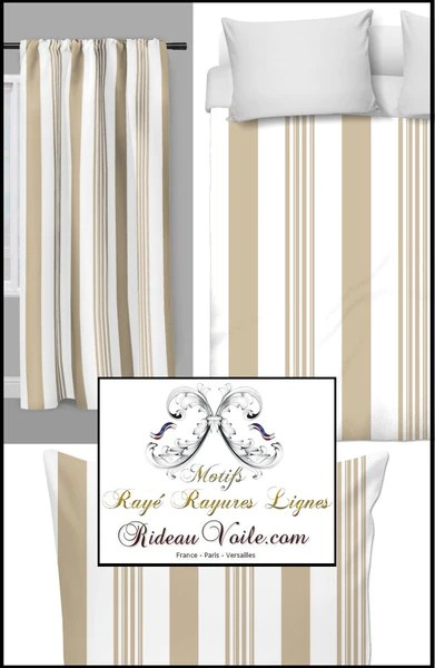 https rideauvoile com products tissu uni au metre raye rayures verticales rideau couette beige