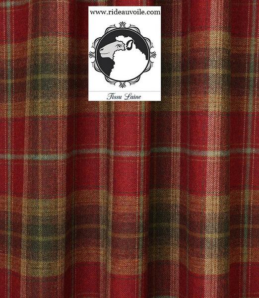 tissu ameublement ignifuge laine ecossais plaid carreaux au metre rouge rideau siege