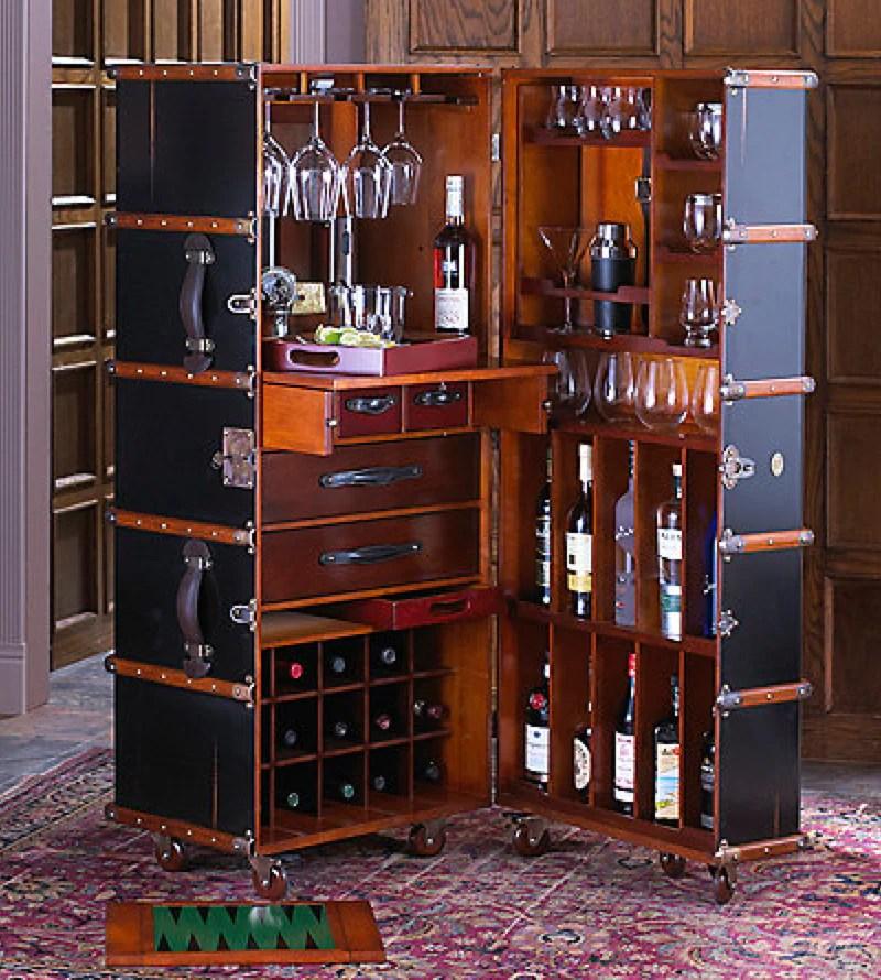 Stateroom Bar in Ivory or Black  Steamer Trunk Bar