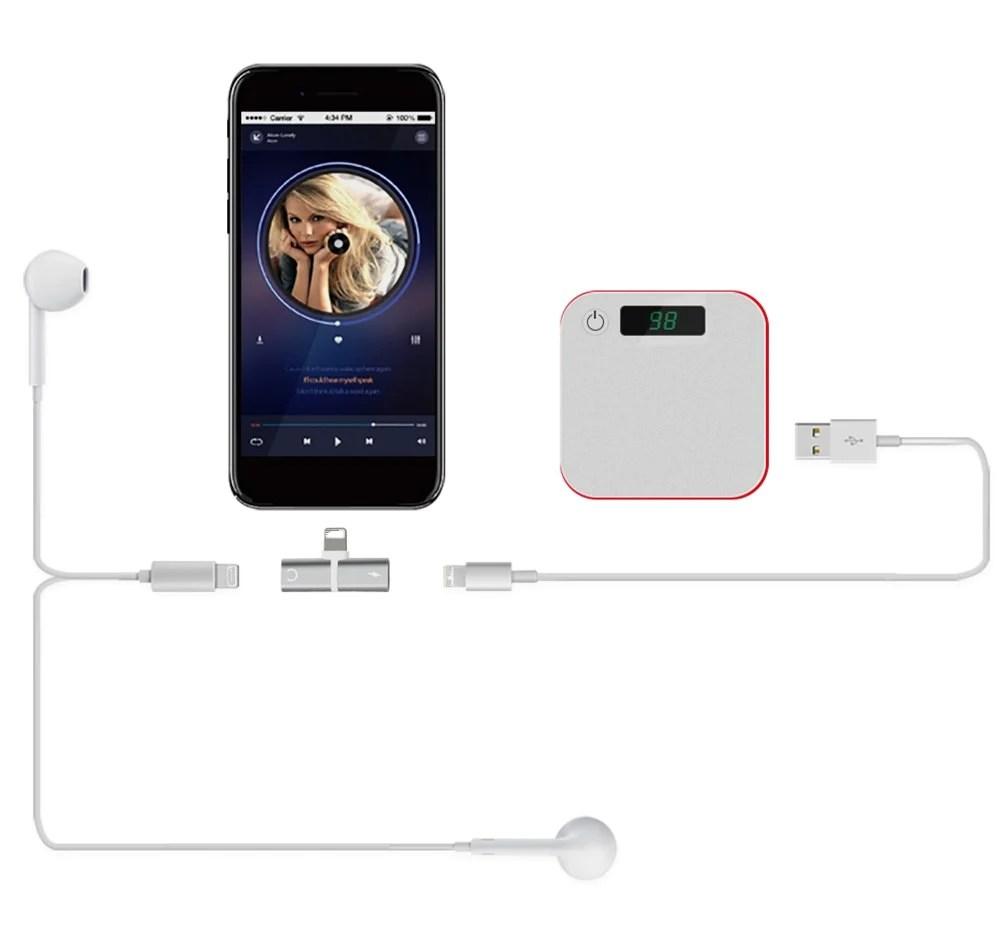 medium resolution of 2 lighting for dual lightning adapter converter charging port with headphone jack splitter cable plug for