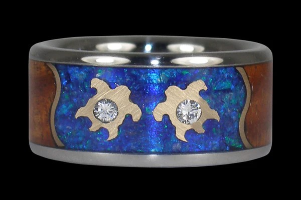 Forever Love Wedding Band with Blue Opal Diamonds Gold Turtles and Koa  Hawaii Titanium Rings