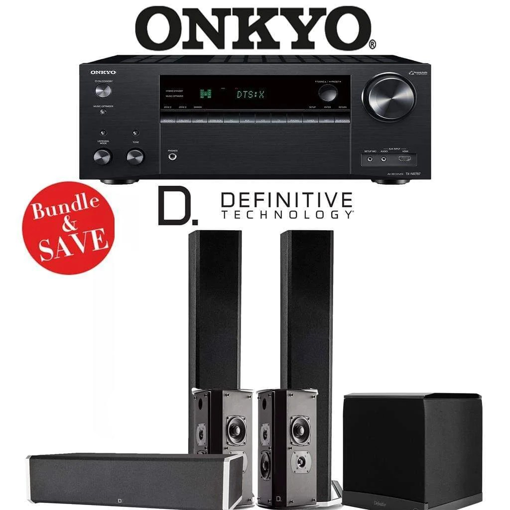 medium resolution of definitive technology bp9060 5 1 ch home theater speaker package with onkyo tx nr787 9 2