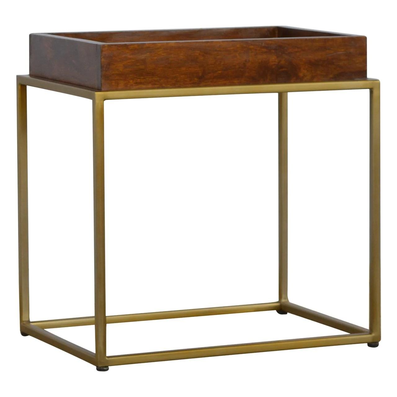 mango moon solid dark wood butler tray gold leg cocktail table