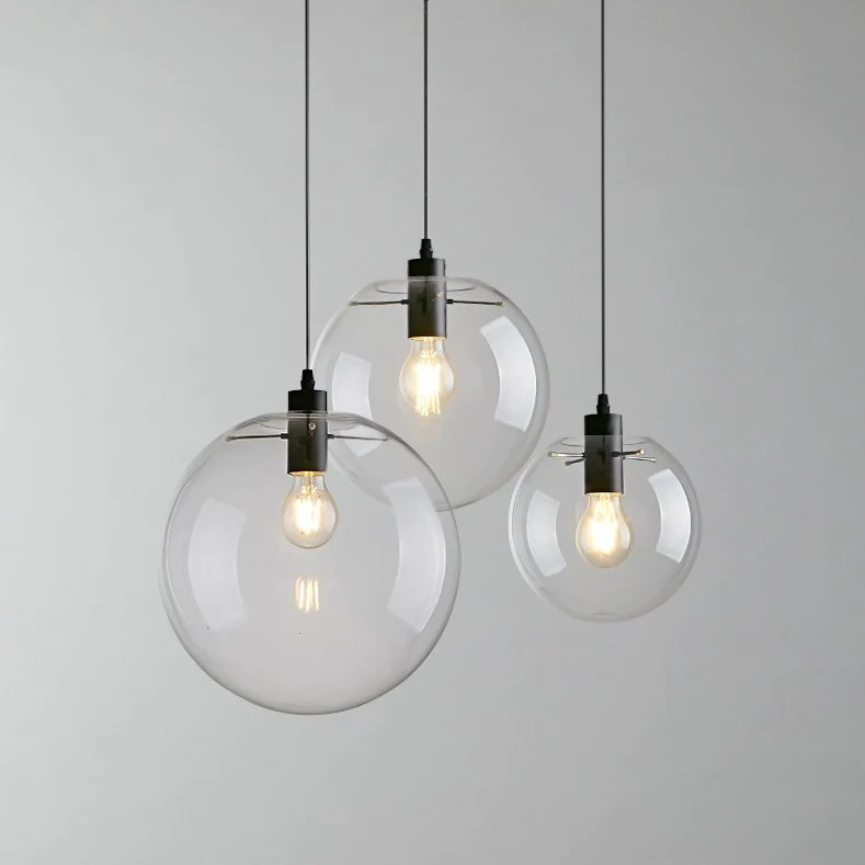 Globe Chandelier Lighting Fixture Clear Glass Bubble Clustered Pendant Lights Modern Lighting Heparts