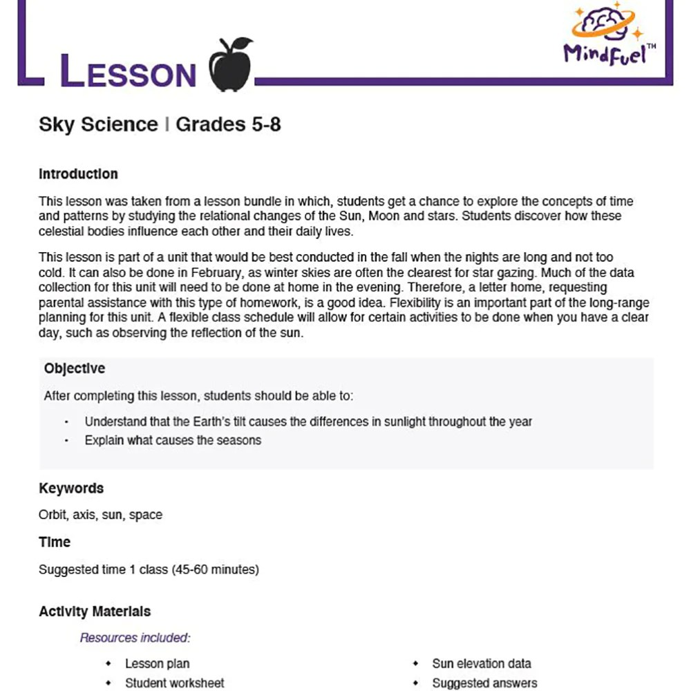 hight resolution of Sky Science - Sun Angles - MindFuel STEM Store