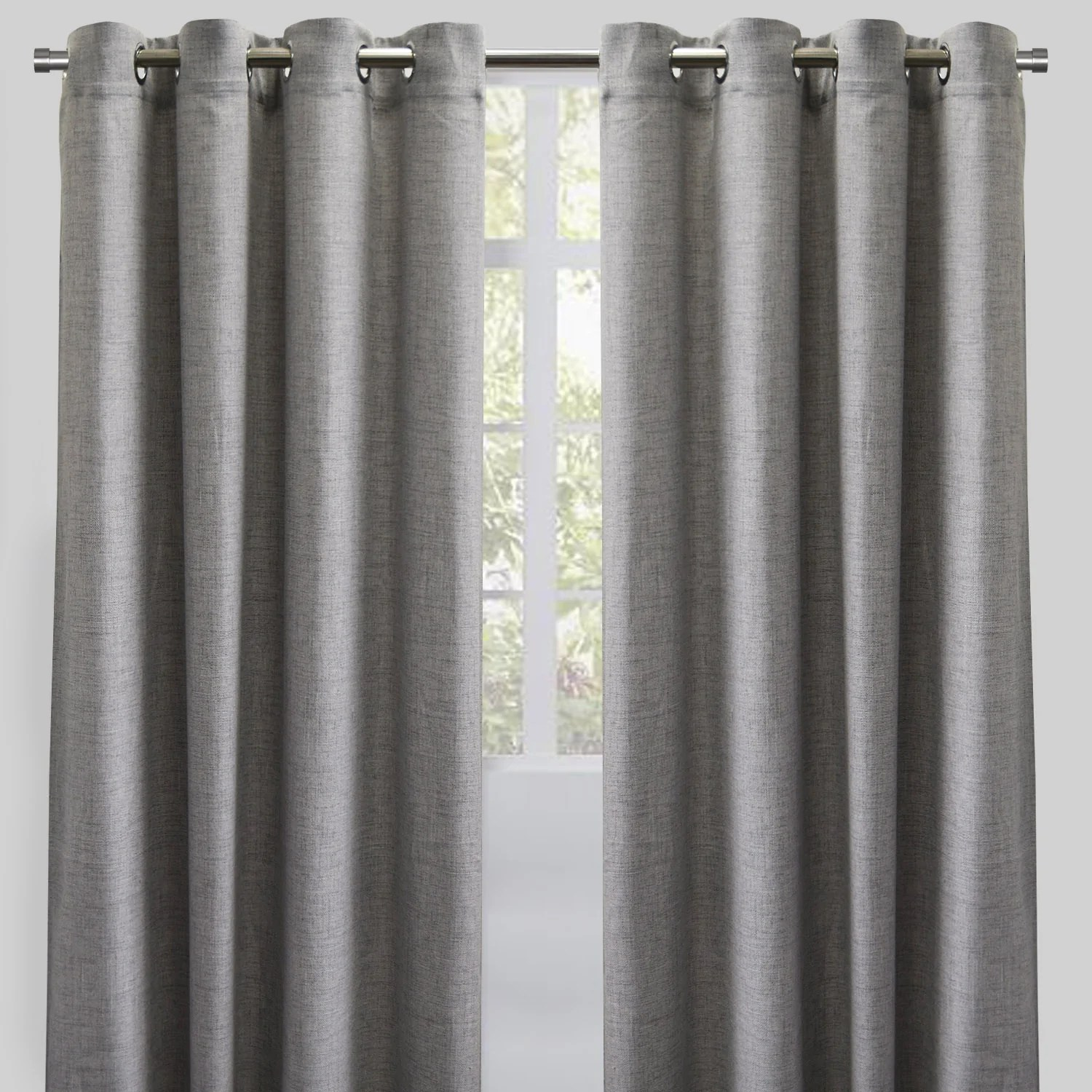 halsey set of 2 linen look curtain panels size 54x96 color silver