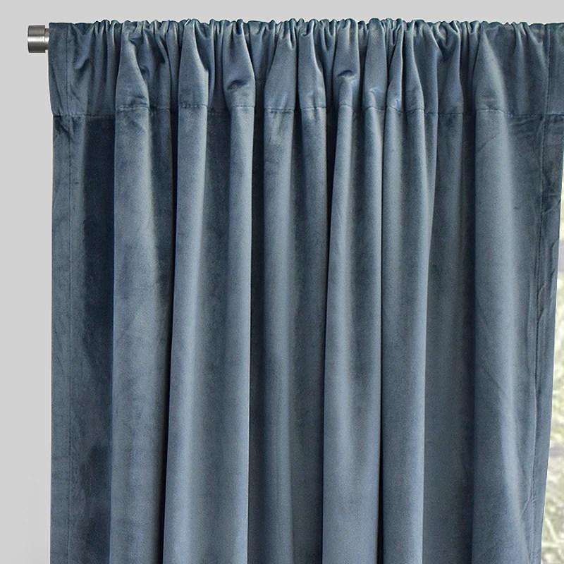 torino set of 2 velvet curtain panels size 54x84 color denim