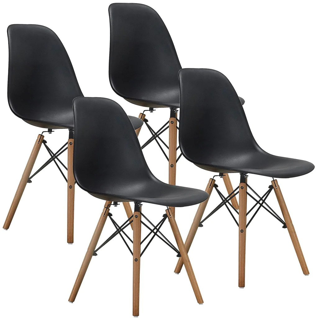 Eanes Chair Eames Chair Set Of 4 Dining Side Chairs With Natural Wood Legs Black White