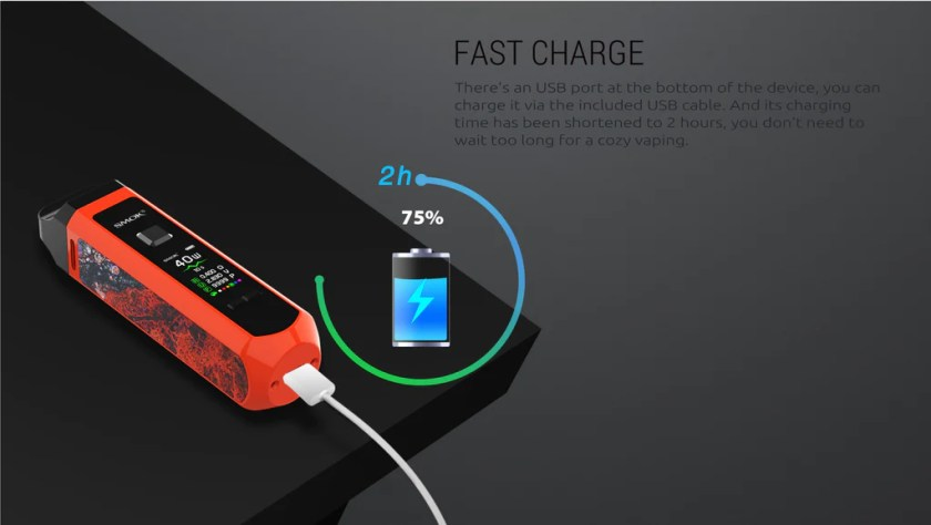 Smok RPM 40 Vape Pod System VW Starter Kit Charging Fast