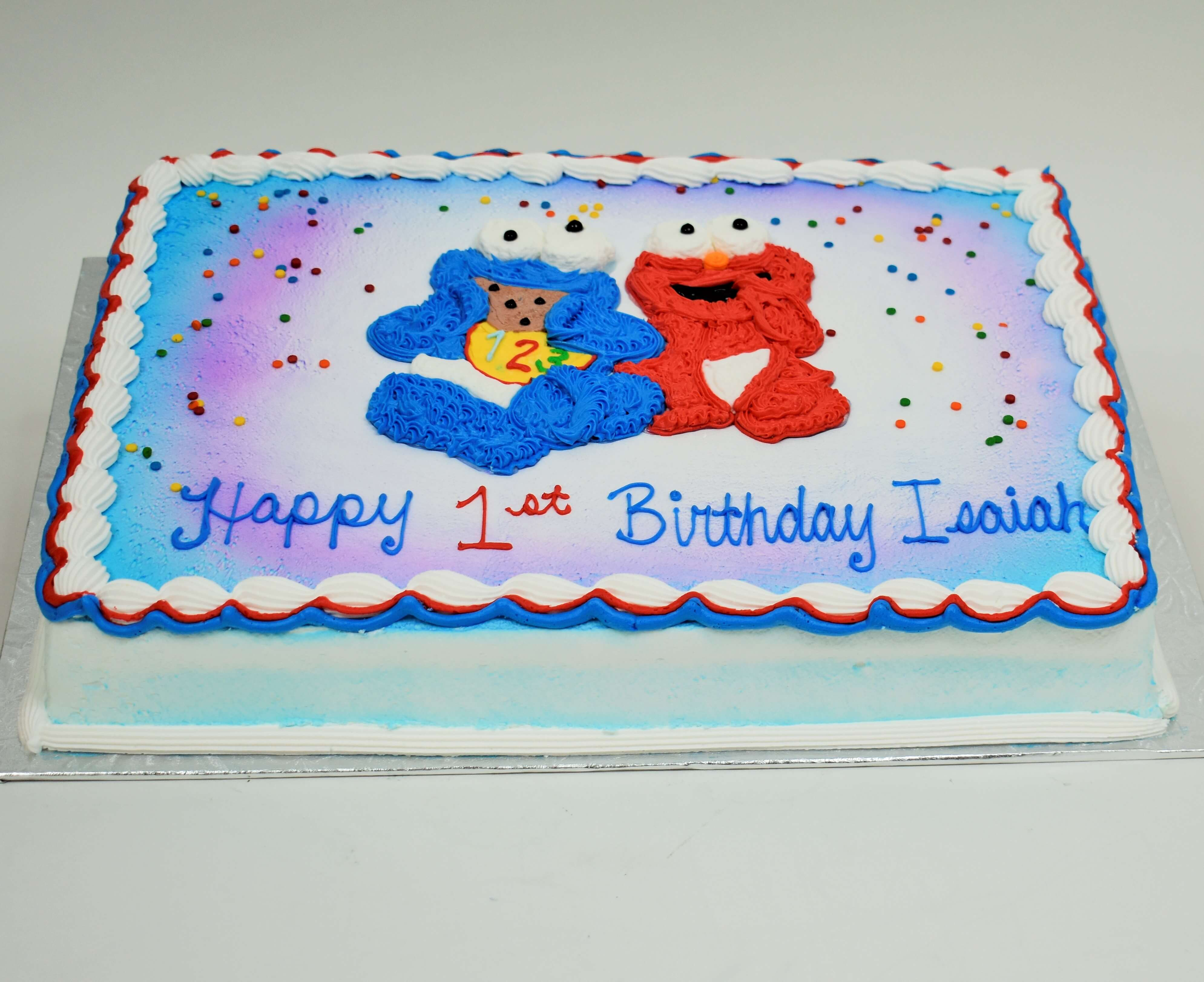 Baby Cookie Monster And Elmo Cake