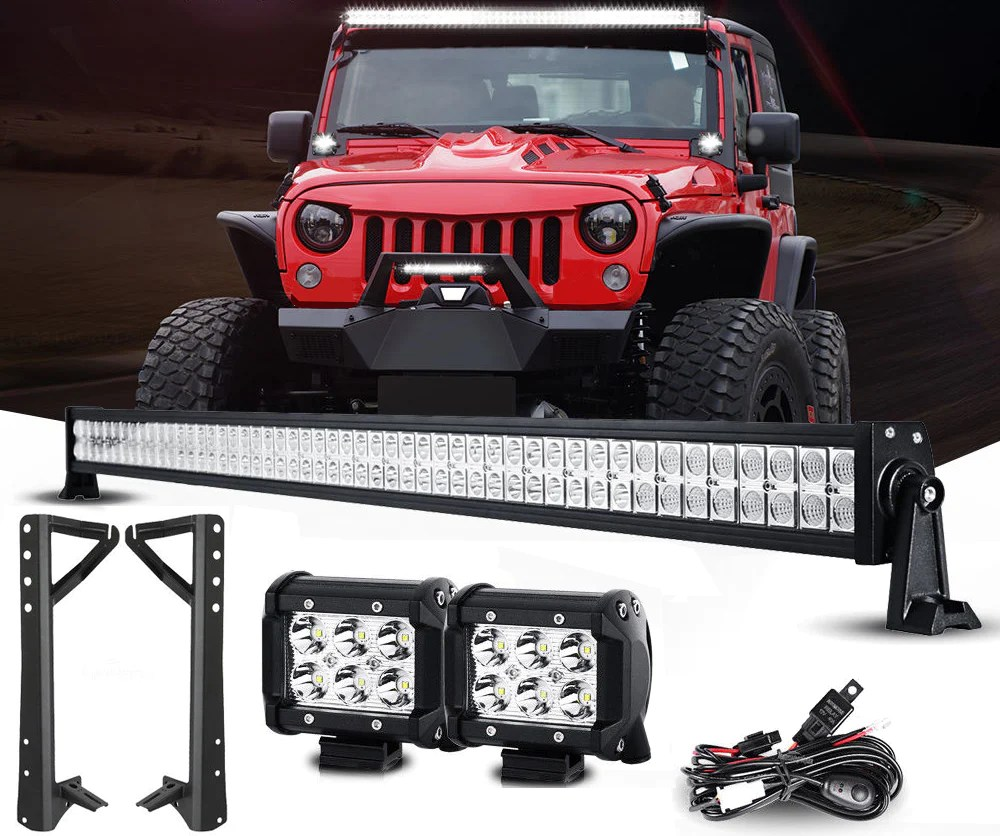 hight resolution of jeep wrangler lightbar combo 52 inch lightbar pods mounts wiring