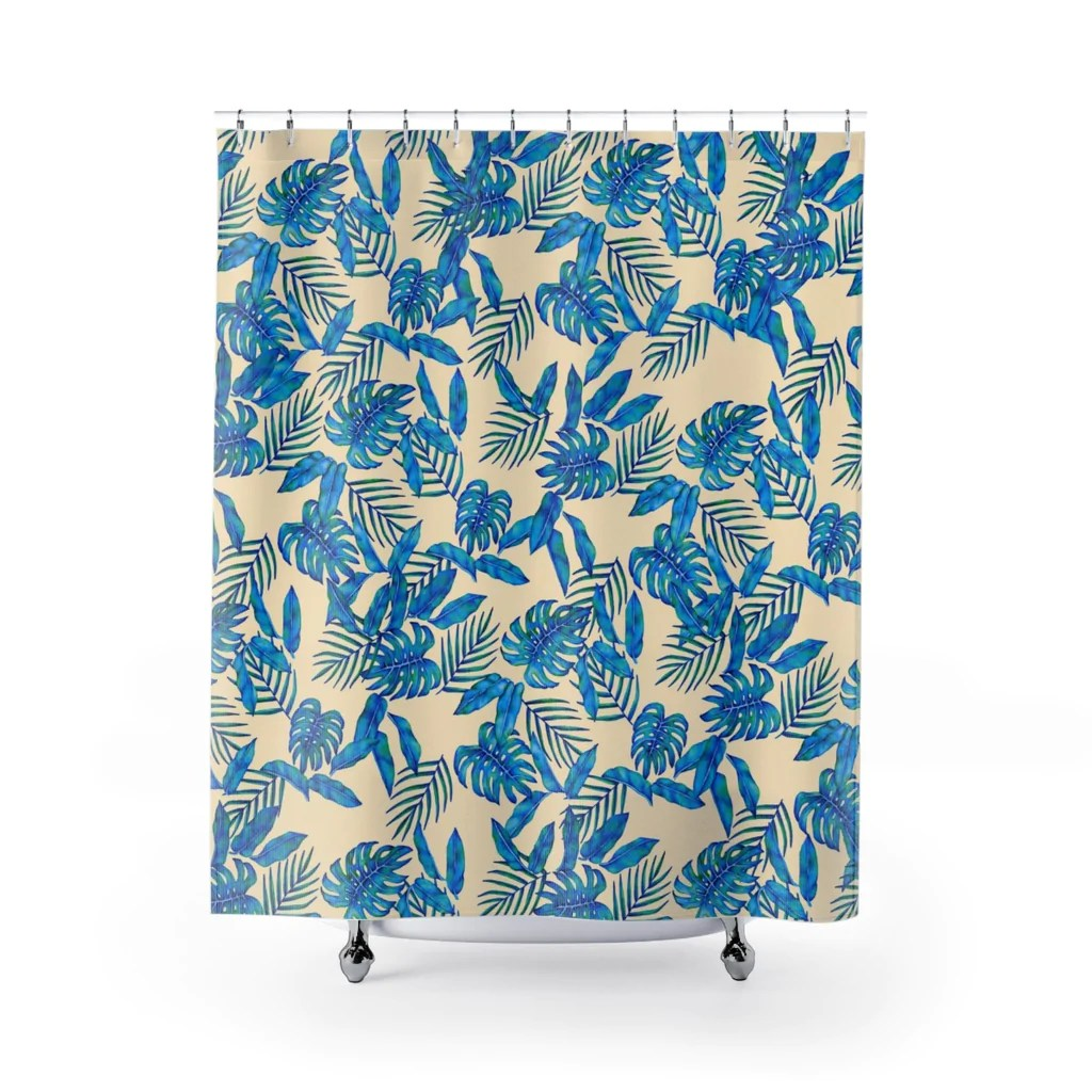 tropical blue leaves shower