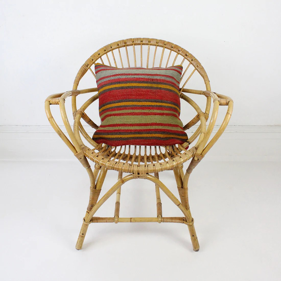 Vintage Rattan Chair Vintage Rattan Bamboo Hoop Chair With Arms