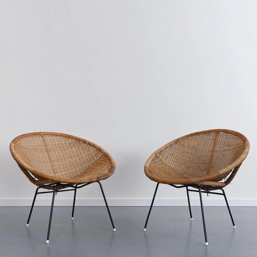 Satellite Chair Vintage Single Wicker Rattan Satellite Chair