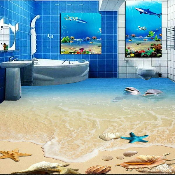 Free Shipping Hd Dolphin Shell Toilet Bedroom 3d Floor Wallpaper Bathr My Dubai Shopping All Rights Reserved