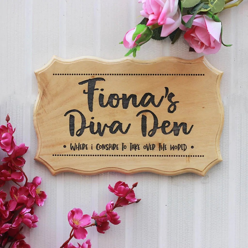 Diva Den Room Name Sign For Girls Personalized Wood Bedroom Door Signs Usa Woodgeekstore
