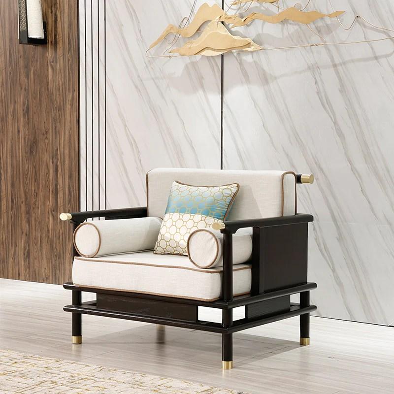 新中式實木沙發簡約樣板房客廳布藝沙發現代酒店家具– LuxHKHome