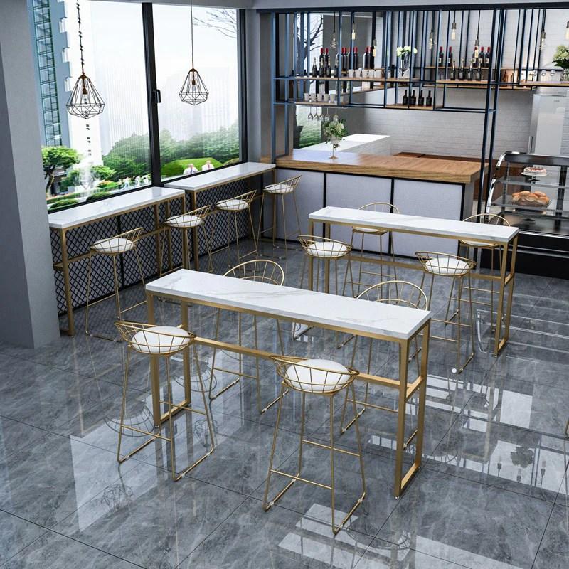 北歐吧臺桌椅組合長條靠牆桌酒吧高腳桌大理石網紅奶茶店吧臺桌椅– LuxHKHome