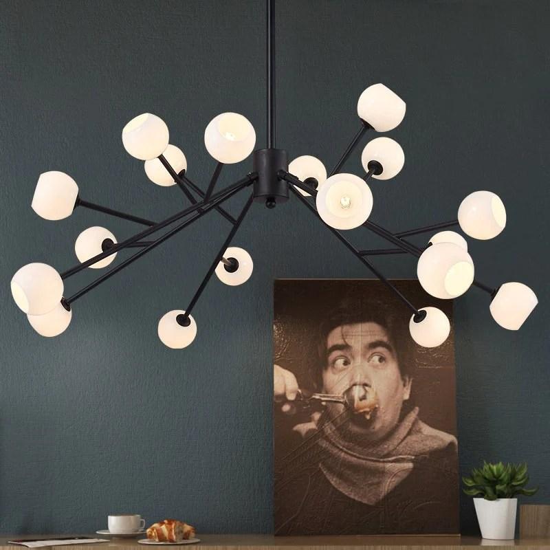 北歐簡約創意魔豆燈後現代客廳餐廳美式工業多頭玻璃圓球分子吊燈– LuxHKHome