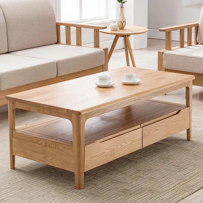 日式純全實木茶幾進口白橡木客廳家具北歐茶幾簡約現代長方形茶桌– LuxHKHome