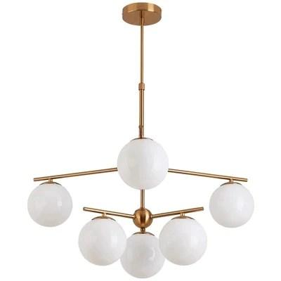 北歐現代簡約客廳餐廳臥室書房商業奶白鐵藝玻璃圓球吊燈– LuxHKHome