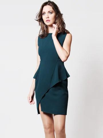 Meryl Peplum Dress Green with Belt