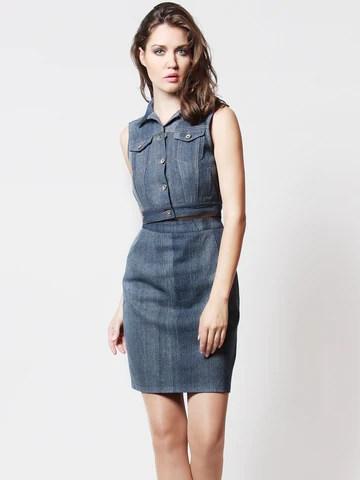 Jodie Denim Cropped Vest and Pencil Skirt Set Dark