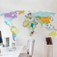 Printed world map vinyl wall sticker decal graphic for ...