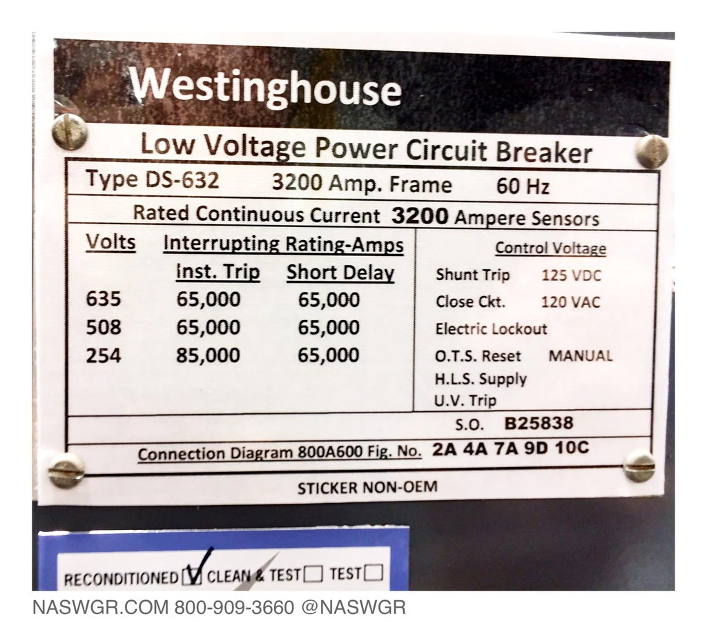 medium resolution of westinghouse ds 632 circuit breaker e o d o 3200a north american switchgear store