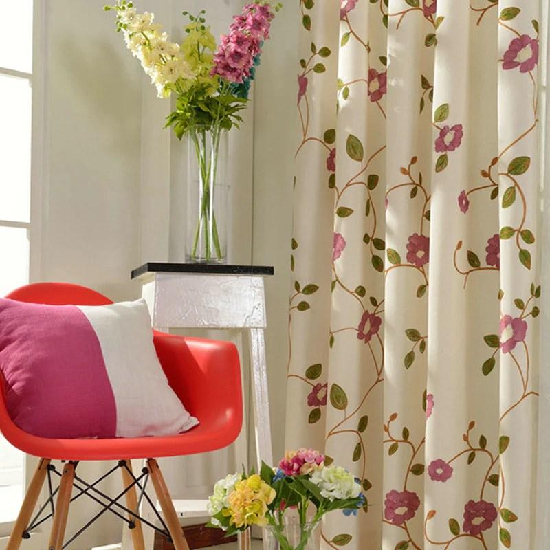 rideau tamisant en lin fleur brode 135 x h240 cm chambre salle style campagne