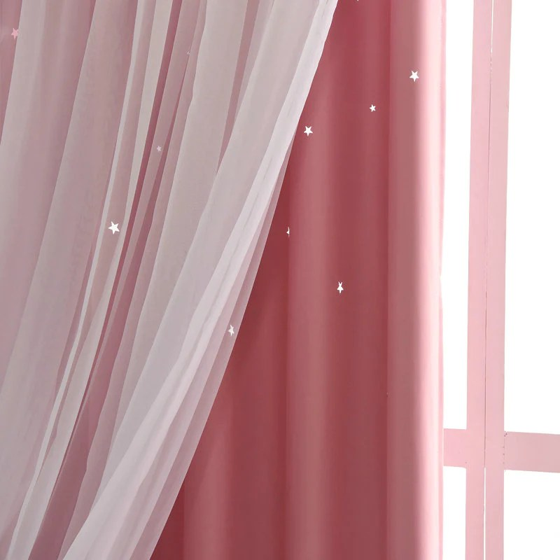 rideau etoiles avec voilage enfant occulant 140 x h260 cm pour chambre fille