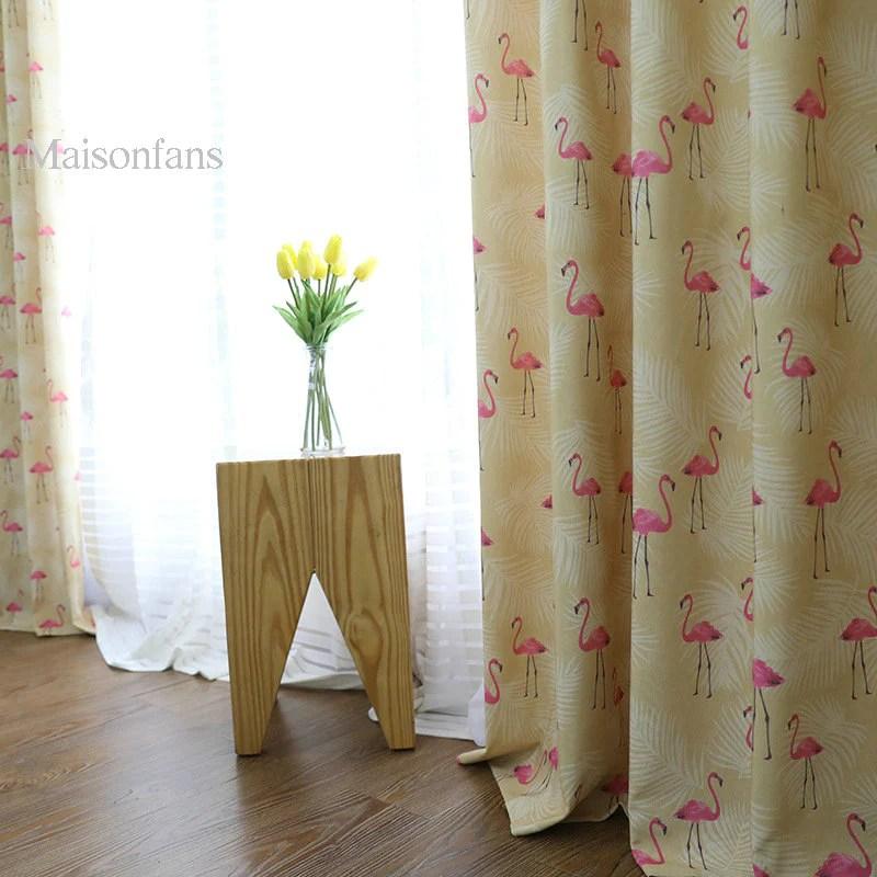 rideau tamisant a œillets jaune flamant rose 135 x h240 cm pour chambre fille salon