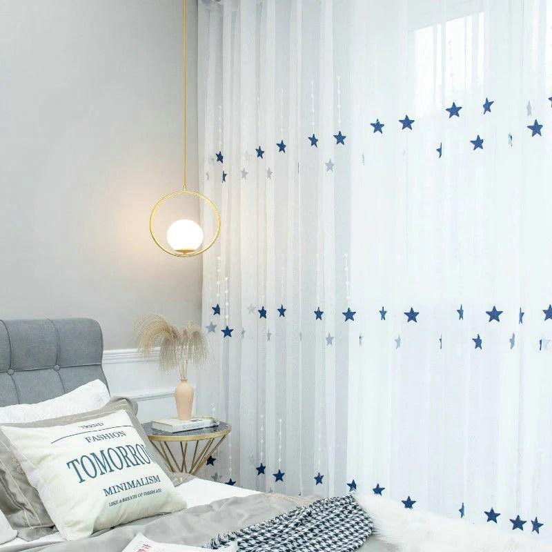 voilage a œillets etoile broderie bleu 140 x h240 cm chambre enfant fille