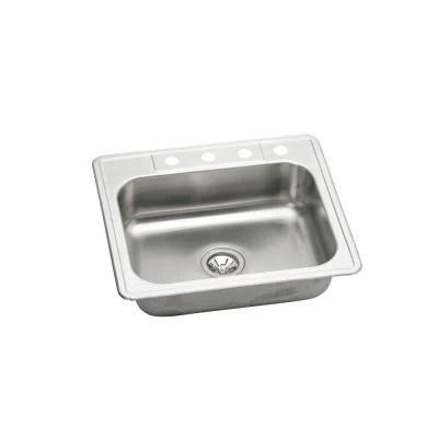 elkay kitchen sinks blue backsplash tile neptune drop in stainless steel 25 4 hole single bowl