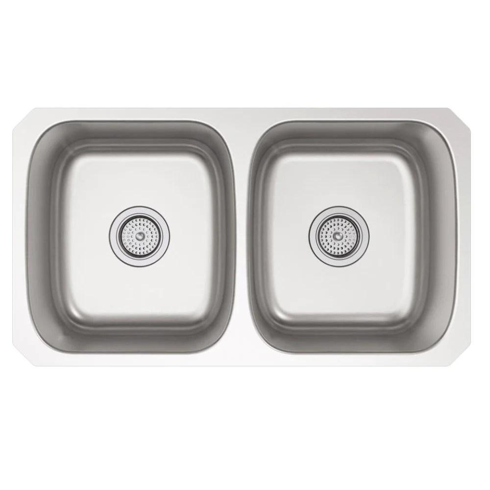 kohler ballad undermount stainless steel 32 in double bowl kitchen sink