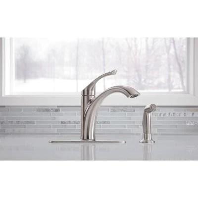 kohler mistos single handle standard kitchen faucet with side sprayer in stainless steel