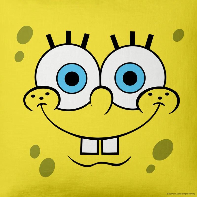 spongebob squarepants yellow big face throw pillow 16 x 16