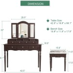 Makeup Vanity Table Set With 7 Drawers Brown Devaise