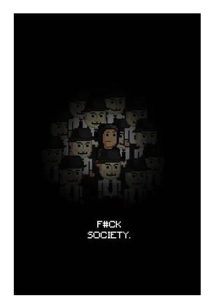 fuck society mr robot themed 8bit design wall art artist divyansh deora