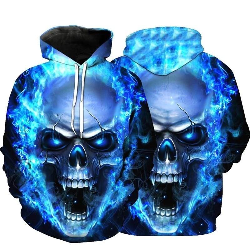 blue fire skull hoodie