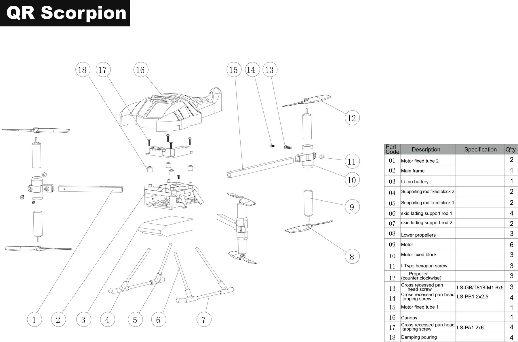 hight resolution of qr scorpion parts diagram
