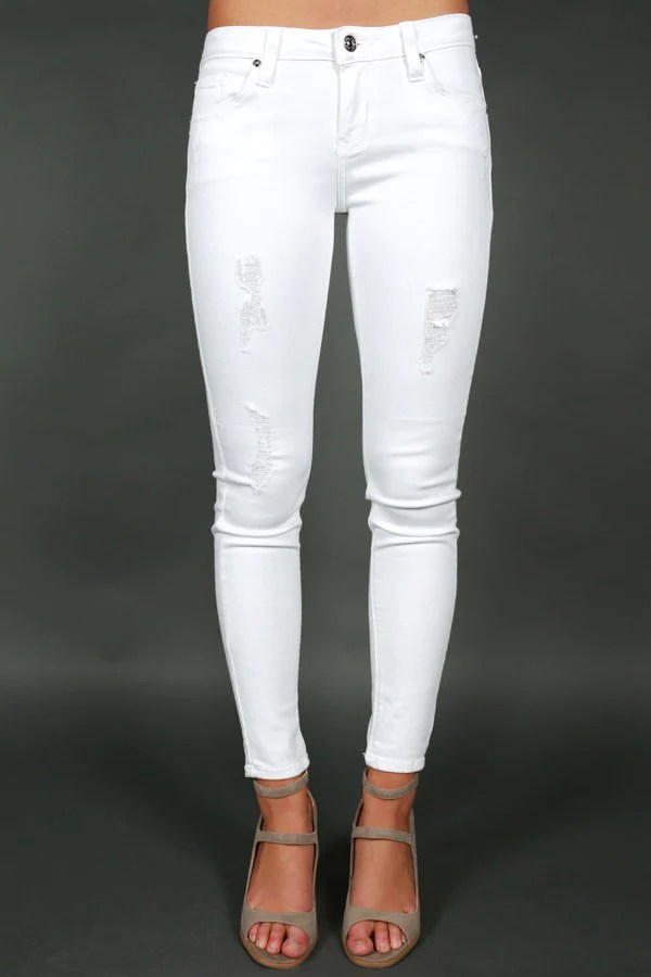 Statement distressed skinny in optic white also just usa  impressions online boutique rh shopimpressions