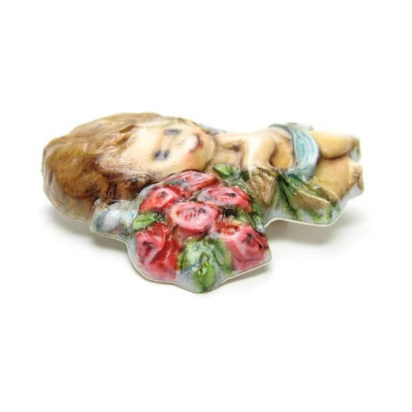 Cherub Pin Valentines Day Vintage Hallmark Angel Brown
