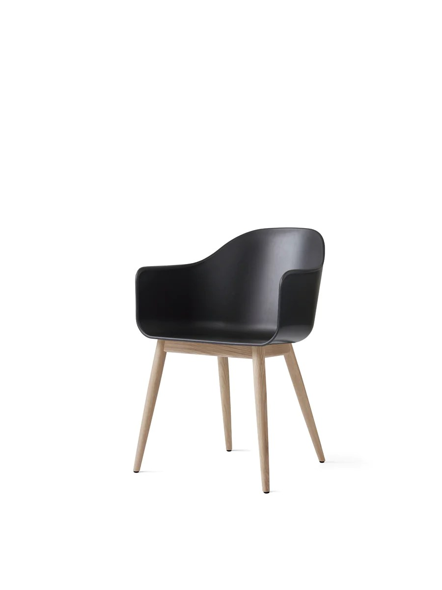 black plastic chair with wooden legs high upside down harbour wood shell in assorted colors by menu