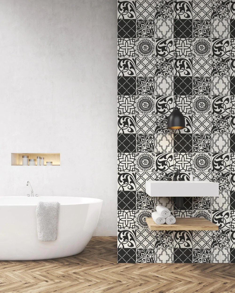 graphic tile peel and stick wallpaper